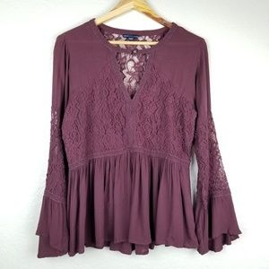 American Eagle - Peasant Sleeve Lace Top